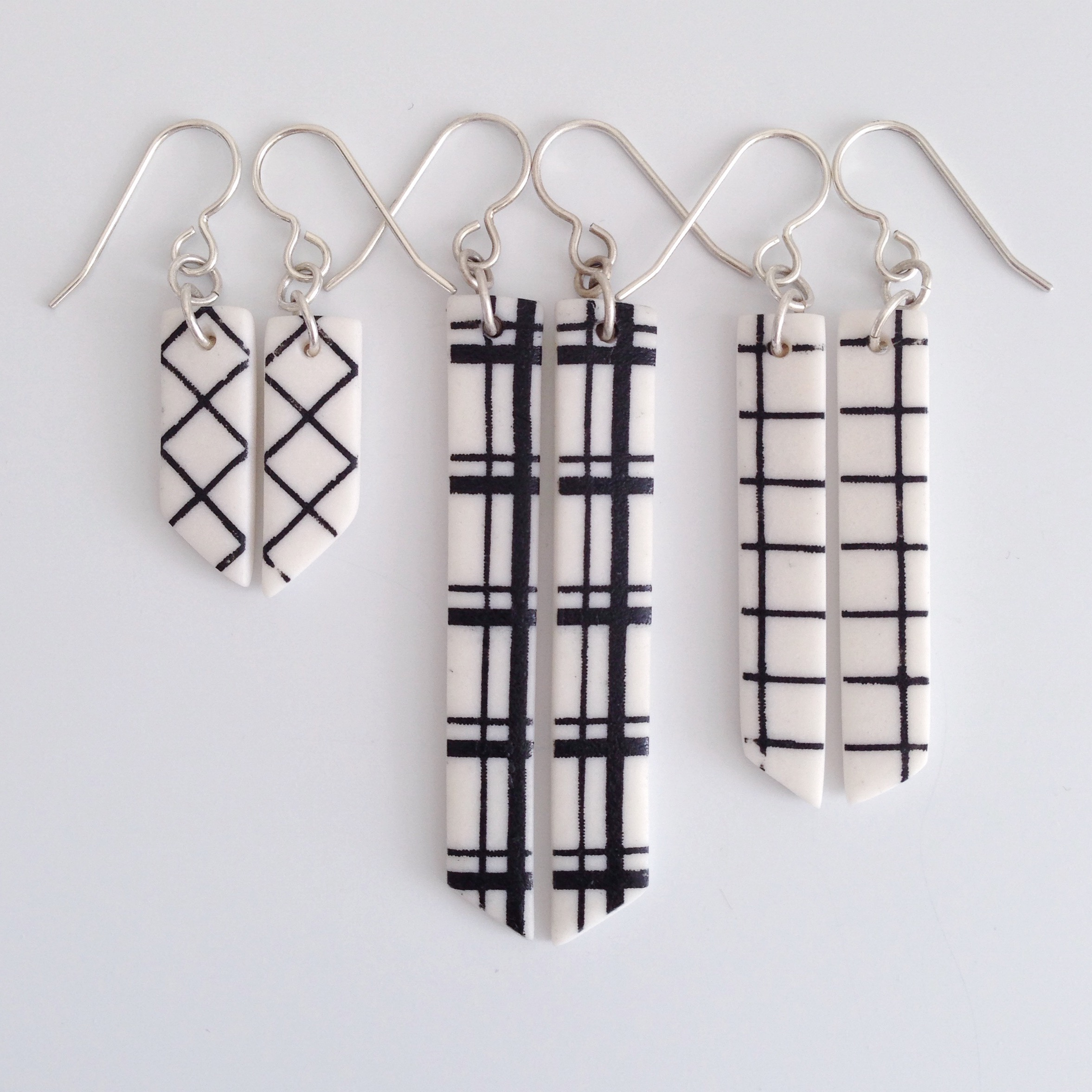 plaid drop earrings