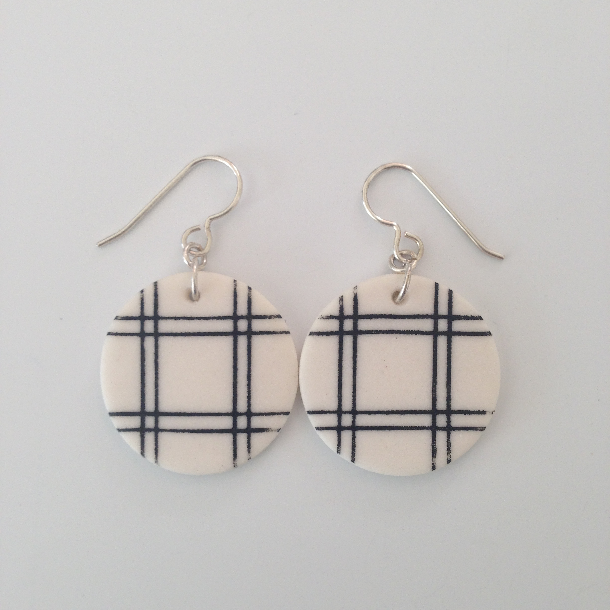 plaid round earrings